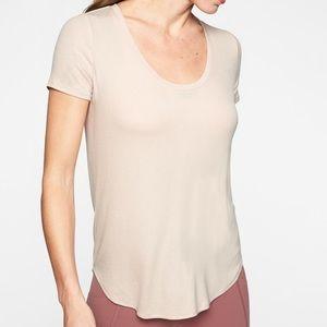 Athleta Revive Ribbed Pink Shirt Sleeve Shirt